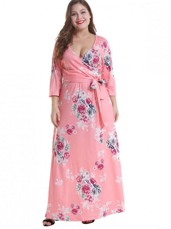 online Floral Plus Size Surplice Maxi Belted Dress - PINK 3X