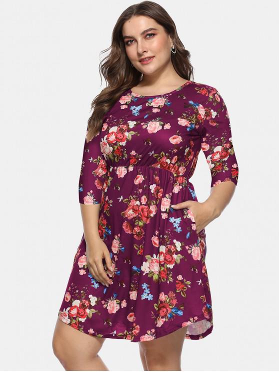 Floral Plus Size A Line Dress DEEP BLUE PLUM PIE