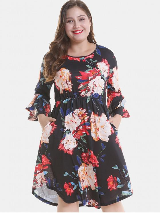 outfit Floral Plus Size Tier Flare Sleeve Dress - BLACK 3X