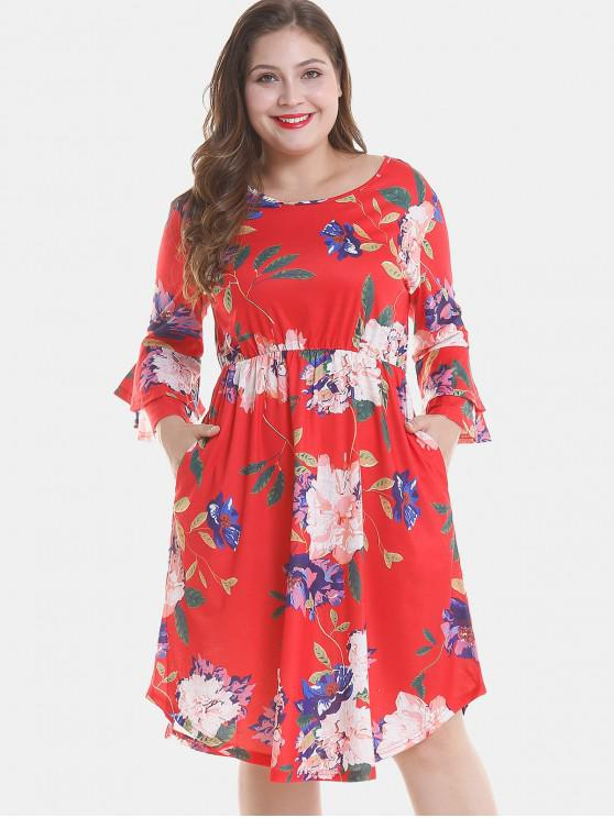 Floral Plus Size Tier Flare Ärmel Kleid - Rot 4X