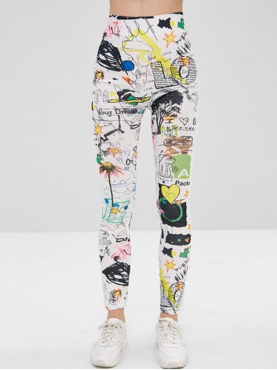 womens Doodle Print High Waisted Leggings - MULTI M