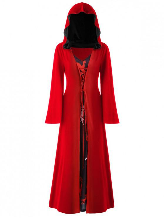 women's Plus Size Christmas Lace Up Hooded Maxi Dress - LAVA RED 1X