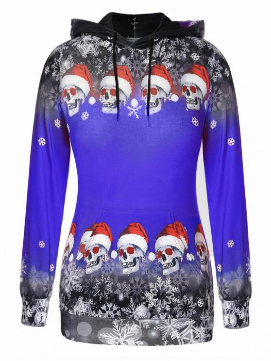Plus Size Christmas Skulls Snowflake Pullover Hoodie - Albastru de cobalt 5X