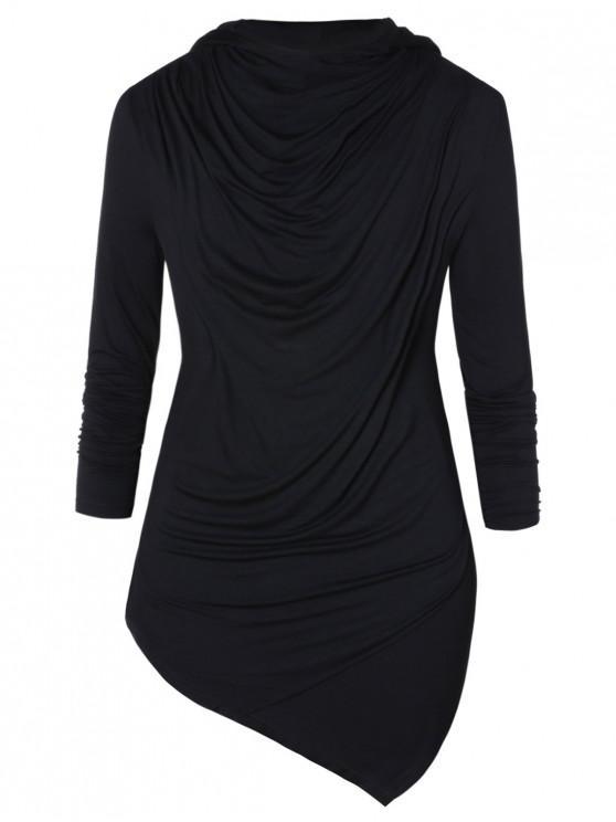 ladies Asymmetric Pile Heap Collar Long Sleeve T-shirt - BLACK 2XL