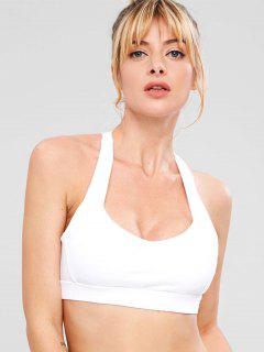Mesh Insert Padded Sports Bra - White L