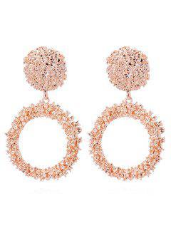 Metal Circle Shape Stud Drop Earrings - Rose Gold