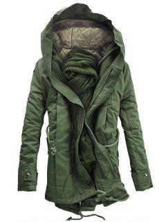 Hooded Padded Double Zip Up Parka Coat - Army Green Xl