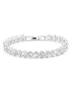 Multiple Rhinestone Alloy Bracelet - Silver