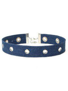 Denim Design Hollow Choker Necklace - Denim Dark Blue