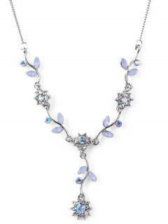 Artificial Crystal Flower Pendant Necklace - Silver