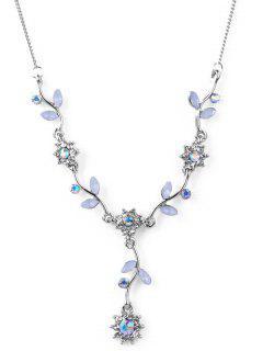 Collier Pendant Fleur En Cristal Artificiel - Argent