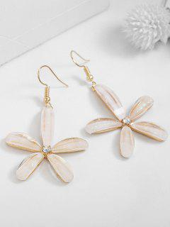 Rhinestoned Floral Pattern Drop Earrings - White