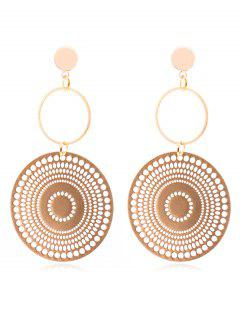 Geometric Round Shape Hollow Earrings - Gold