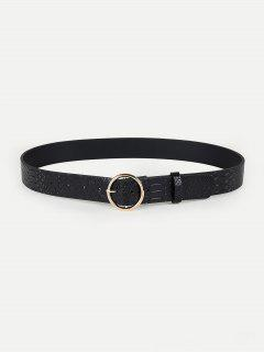 Alloy Hollow Design Pin Buckle Belt - Black