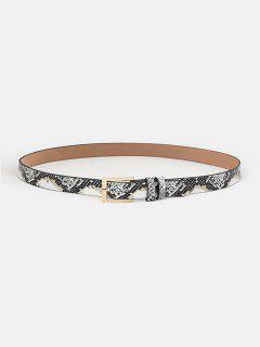 Serpentine Design Buckle Skinny Belt - White