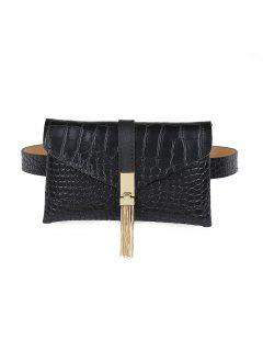 Solid Color Tassel Buckle Funny Pack Belt - Black