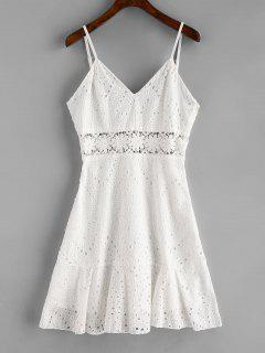 Crochet Panel Eyelet Cami Dress - White Xl