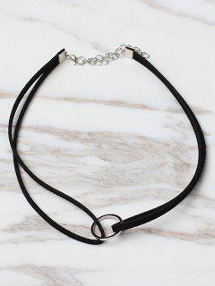 Circle Shape Choker Necklace - Black