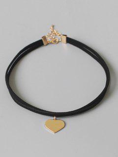 Heart Shape Choker Necklace - Black