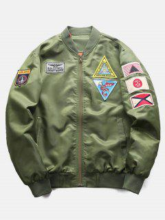 Graphic Embroidery Appliques Bomber Jacket - Army Green Xs