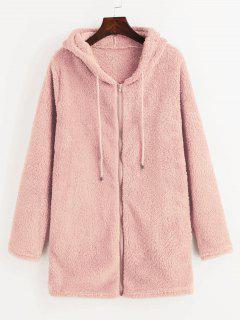 Furry Fleece Zip Up Sudadera Con Capucha Larga - Cerdo Rosa S