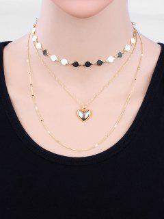 Collier De Chandail De Perles De Conception De Coeur En Couches - Or