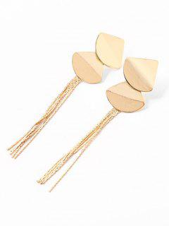 Fan Design Tassel Stud Drop Earrings - Gold