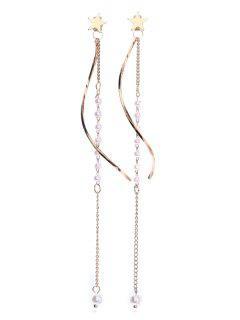 Minimalist Tassel Stud Drop Earrings - Gold