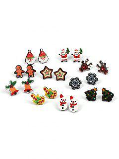 Snowflake Christmas Tree Star Earrings - Multi-a