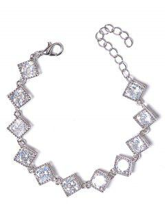 Hollow Rhinestone Design Metal Bracelet - Silver