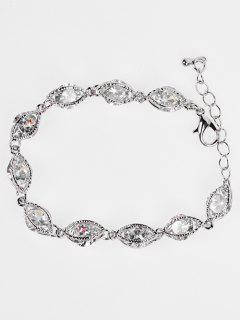 Simple Zircon Adjustable Bracelet - Silver