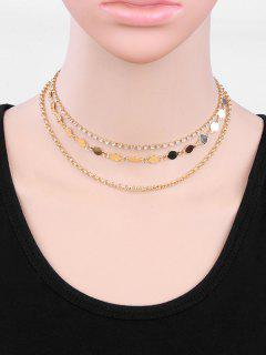 Collier Strass Forme Ronde En Couches - Or