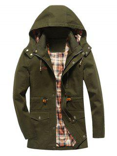 Faux Fur Lining Solid Thicken Jacket - Army Green Xs
