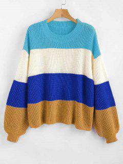 ZAFUL Laterne Ärmel Streifen Pullover - Multi-b