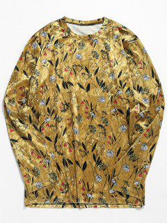 Flowers Print Velvet Long Sleeve T-shirt - Khaki 2xl