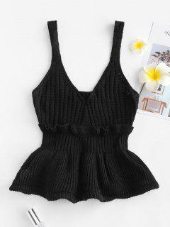 Frilled Openwork Sweater Vest - Black