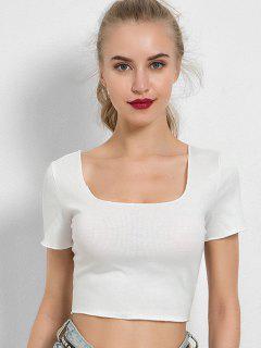 Camiseta Con Cuello Liso De Cuello U - Blanco S