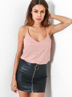 Solid Color Spaghetti Strap Top - Pig Pink M
