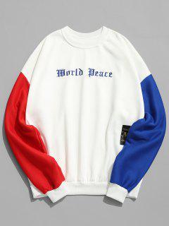Sleeve Colorblock Embroidery Fleece Sweatshirt - White L