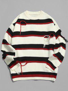 Round Hole Striped Knit Sweater - Red Wine Xl