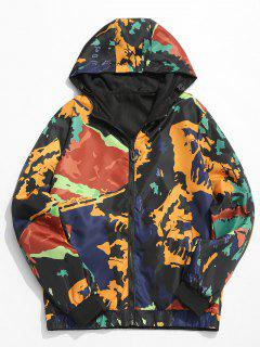 Camouflage Print Hooded Jacket - Orange Gold M