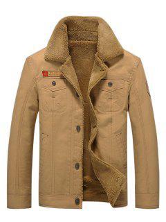 Button Up Appliques Plush Jacket - Khaki Xl