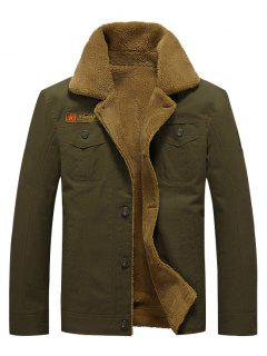 Button Up Appliques Plush Jacket - Army Green M