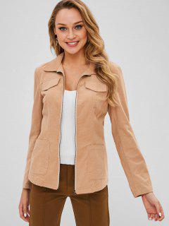 ZAFUL Corduroy Zip Pocket Jacket With Belt - Camel Brown L