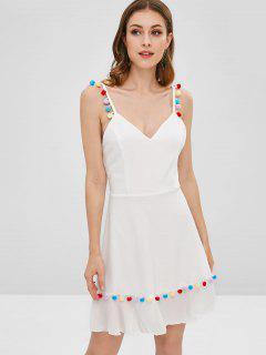 Pompoms Eine Linie Cami Kleid - Weiß M
