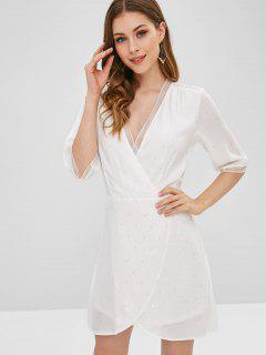 Vestido Asimétrico De Hojas De Panel De Encaje - Blanco S