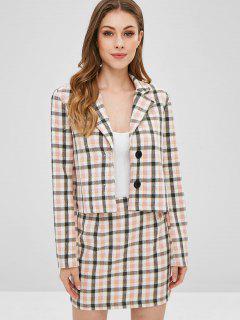 ZAFUL Plaid Boxy Jacket And Skirt Set - Pink M