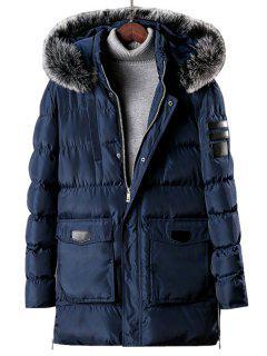 Detachable Fur Hooded Zip Fly Padded Coat - Lapis Blue L