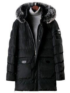 Detachable Fur Hooded Zip Fly Padded Coat - Black M