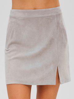 ZAFUL Faux Suede Zip Mini Skirt - Gray S